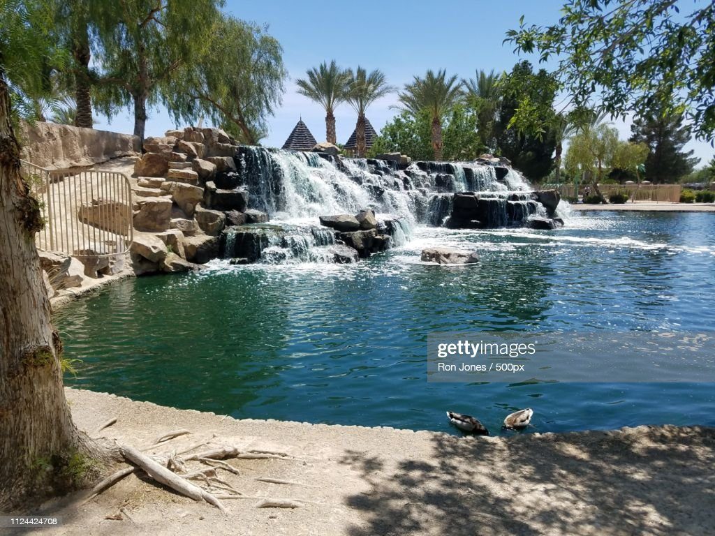 Scenic view of park with waterfall : Stock Photo