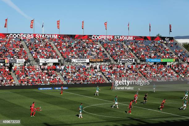 Scenic view of play during the round 12 A-League match between Adelaide United and the Newcastle Jets at Coopers Stadium on December 29, 2013 in...