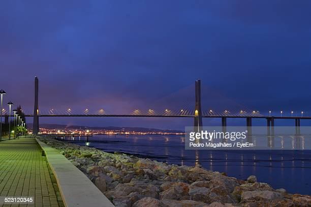 Scenic View Of Portimao Suspension Bridge At Dusk