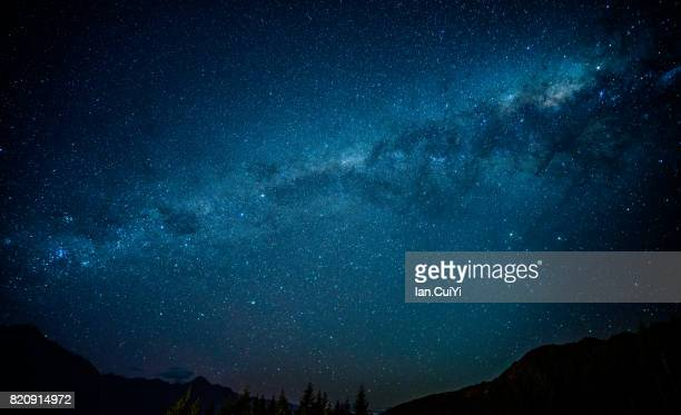 Scenic view of Queenstown, New Zealand with Milky Way