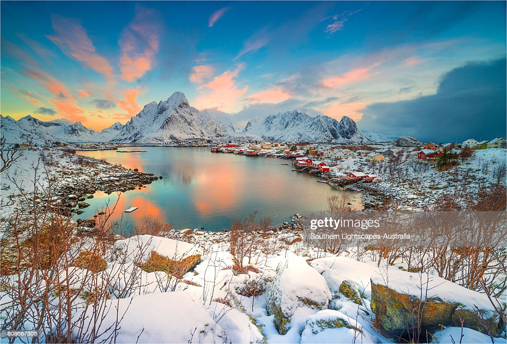 a scenic view of reine in the winter lofoten arctic circle norway
