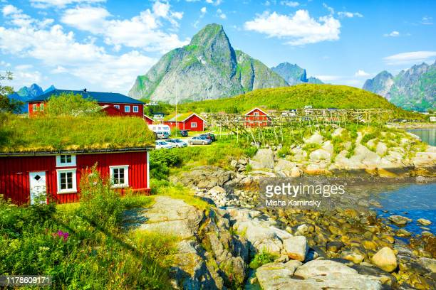scenic view of reine, lofoten islands, norway - lofoten stock pictures, royalty-free photos & images