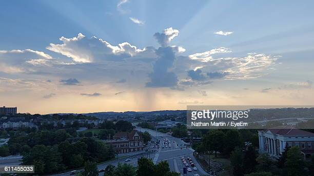 scenic view of residential district against cloudy sky - knoxville tennessee stock pictures, royalty-free photos & images