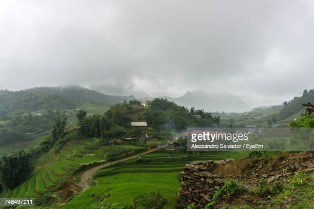 Scenic View Of Rice Terrace Against Sky During Foggy Weather