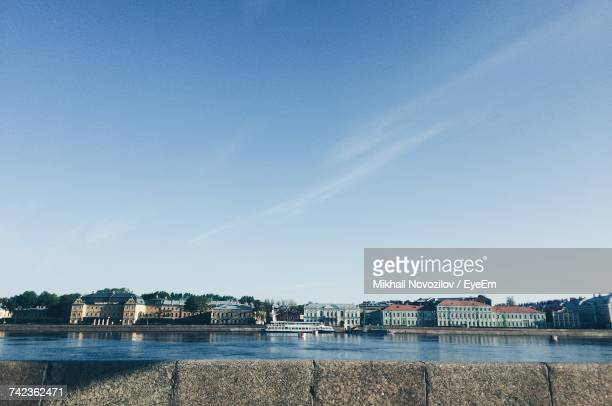 Scenic View Of River Against Clear Blue Sky