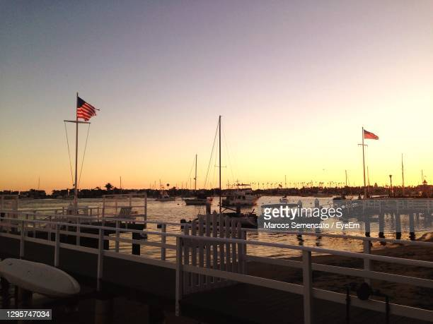 scenic view of river against clear sky during sunset - anaheim california stock pictures, royalty-free photos & images