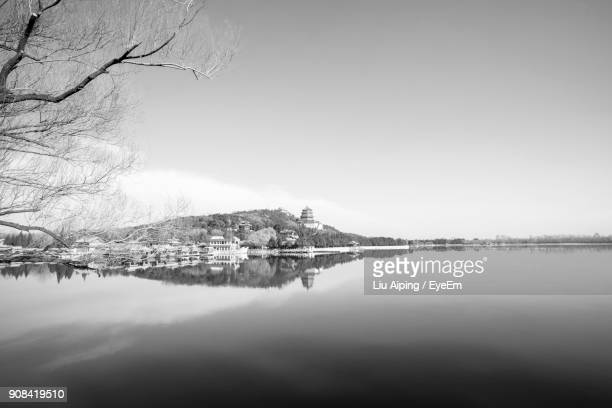 scenic view of river against clear sky during winter - liu he stock pictures, royalty-free photos & images