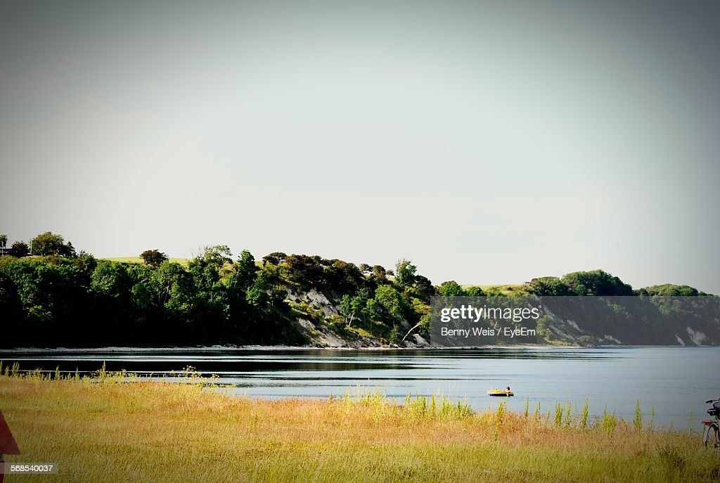 Scenic View Of River Against Clear Sky : Stock Photo