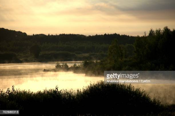 scenic view of river against cloudy sky - anastasi foto e immagini stock