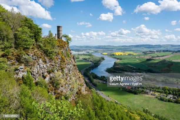 scenic view of river against cloudy sky - grampian scotland stock pictures, royalty-free photos & images