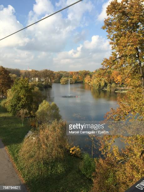 Scenic View Of River Against Sky During Autumn