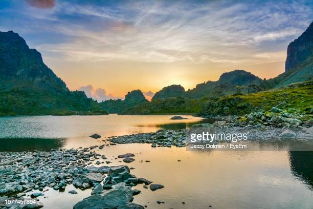 scenic view of river against sky during sunset - isere stock pictures, royalty-free photos & images