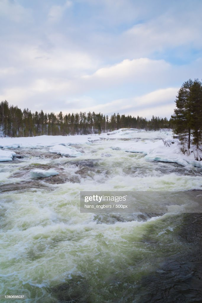Scenic view of river against sky during winter : Stock Photo