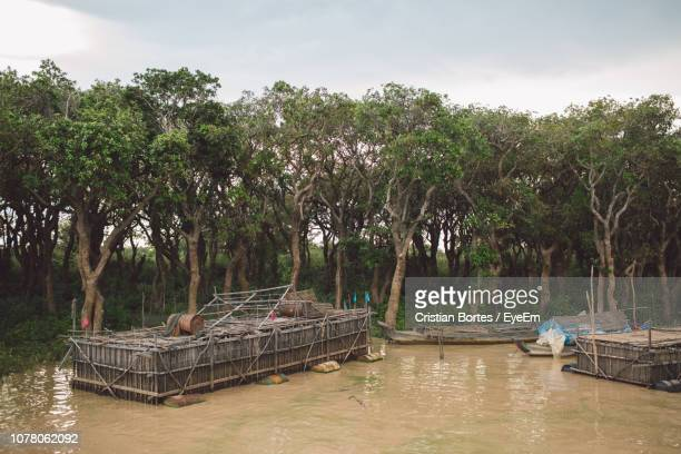 scenic view of river against sky - bortes fotografías e imágenes de stock