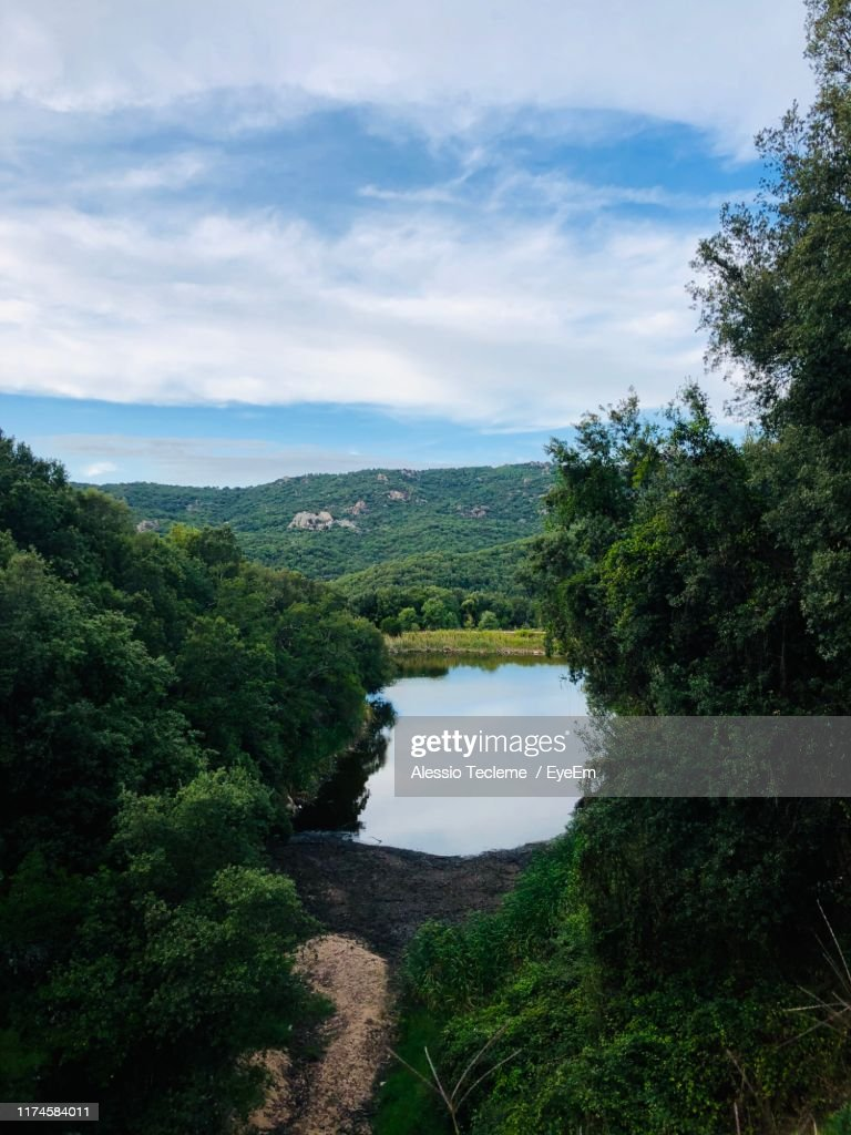 Scenic View Of River Against Sky : ストックフォト