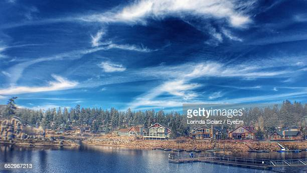 scenic view of river against sky - big bear lake stock pictures, royalty-free photos & images