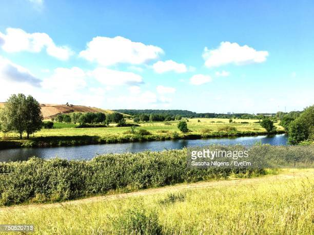 scenic view of river against sky - ruhr stock pictures, royalty-free photos & images