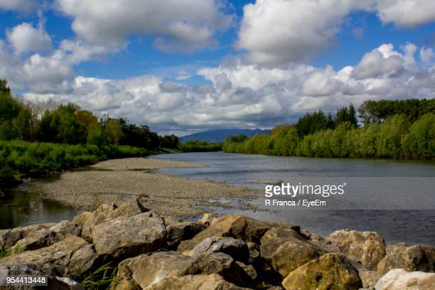 scenic view of river against sky - palmerston north new zealand stock pictures, royalty-free photos & images