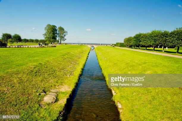 Scenic View Of River Amidst Field Against Clear Sky