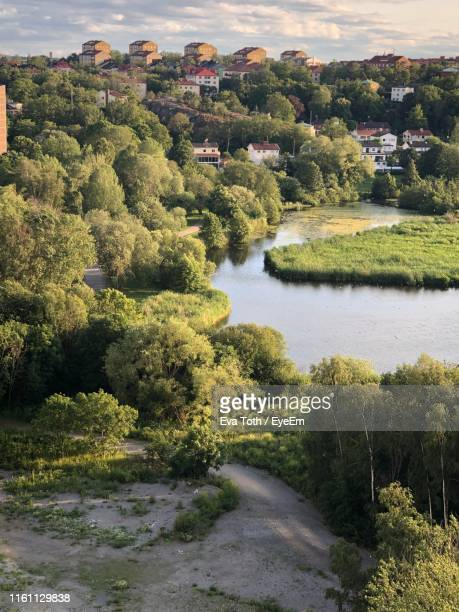 scenic view of river amidst trees against sky - ソルナ ストックフォトと画像