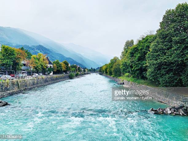 scenic view of river amidst trees against sky - リエンツ ストックフォトと画像