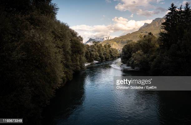 scenic view of river amidst trees against sky - christian soldatke stock pictures, royalty-free photos & images
