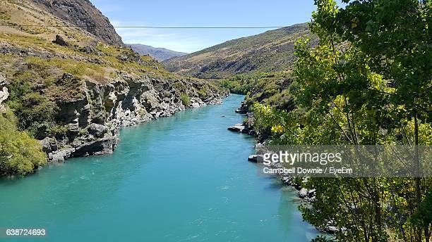 scenic view of river and mountains against clear sky - campbell downie stock pictures, royalty-free photos & images