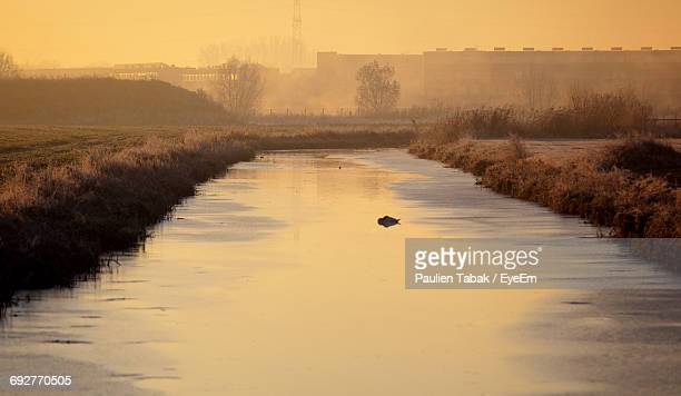scenic view of river at sunset - paulien tabak photos et images de collection