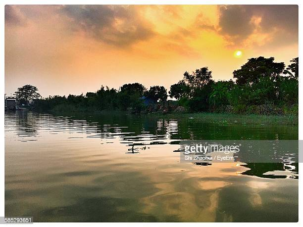 scenic view of river by trees during sunset - transferbild stock-fotos und bilder