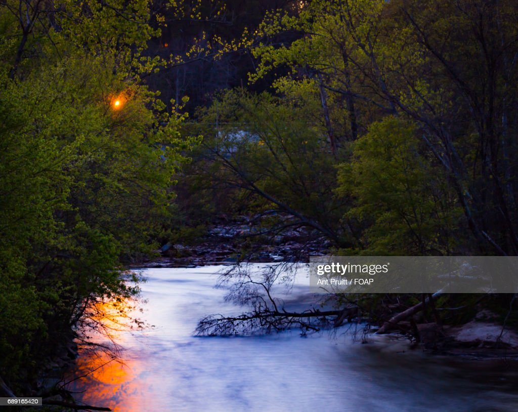 Scenic view of river during sunset : Foto de stock