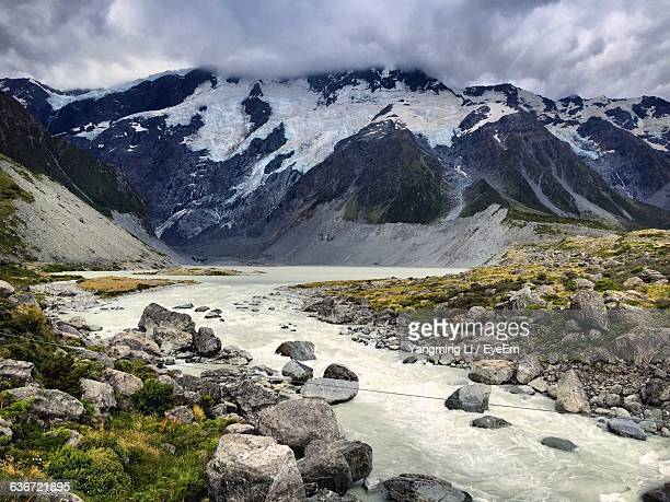 Scenic View Of River On Mountains At Hooker Glacier