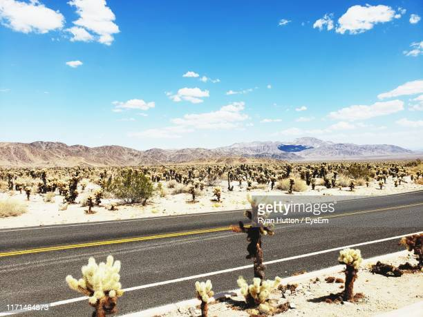 scenic view of road passing amidst desert - hutton stock photos and pictures