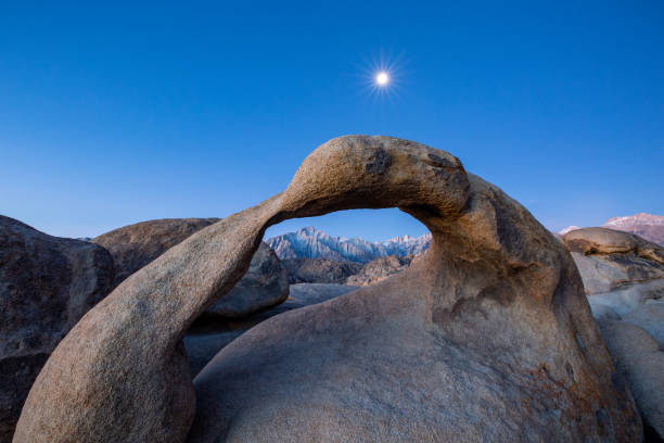 Scenic view of rock formation against clear blue sky,Lone Pine,Californie,United States,USA