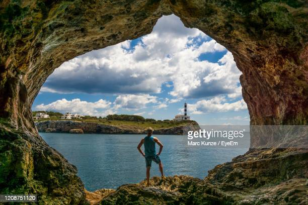 scenic view of rock formation against sky - manacor stock pictures, royalty-free photos & images