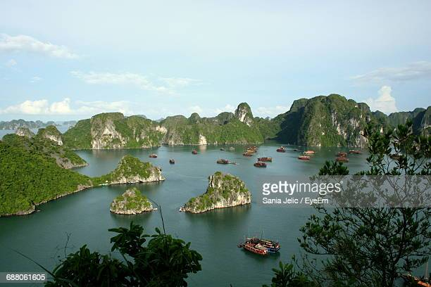 Scenic View Of Rock Formations At Halong Bay Against Sky