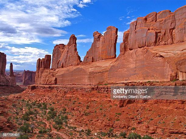 Scenic View Of Rock Formations In Arches National Park Against Sky