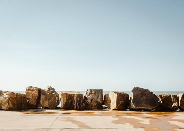 Scenic view of rocks against clear sky,Furadouro,Portugal