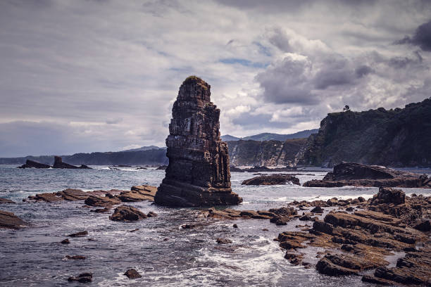 Scenic view of rocks in sea against sky,Principado de Asturias,Asturias,Spain