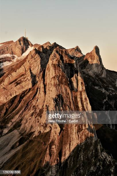 scenic view of rocky mountains against clear sky in the morning - extreme terrain stock pictures, royalty-free photos & images