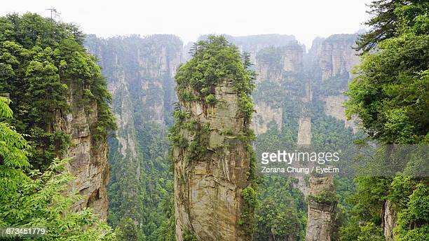 Scenic View Of Rocky Mountains At Zhangjiajie National Forest Park