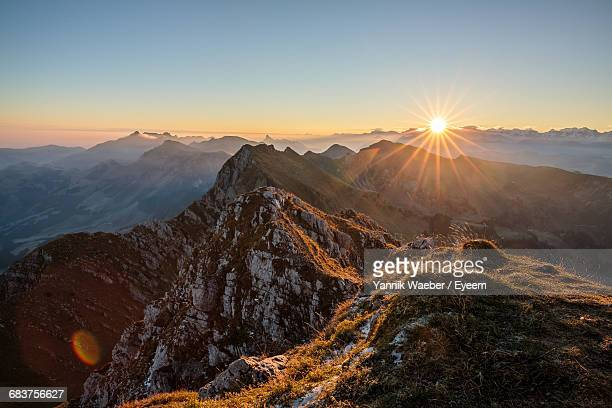 scenic view of rocky mountains during sunset - wide angle stock pictures, royalty-free photos & images