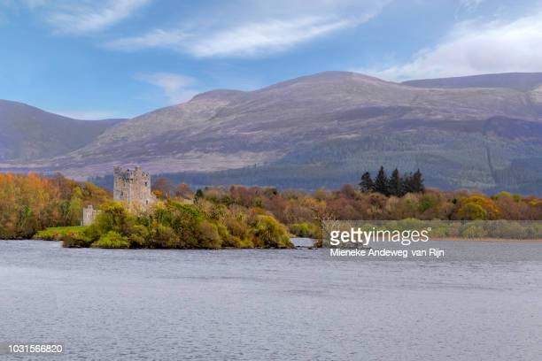 Scenic view of Ross Castle, on the edge of Lough Leane, in Killarney National Park, County Kerry, Ireland.