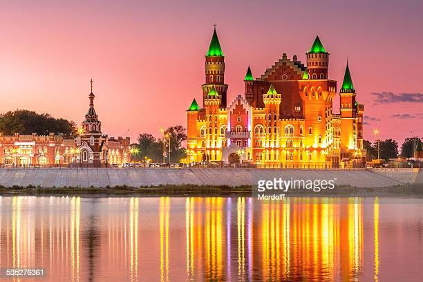 素晴らしい眺望のロシアの街の夜景