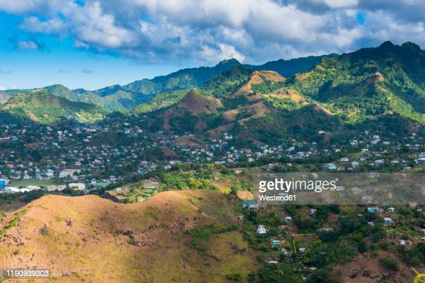 scenic view of saint vincent seen from fort charlotte, st. vincent and the grenadines, caribbean - セントビンセント島 ストックフォトと画像