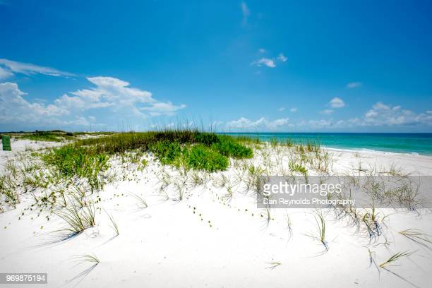 scenic view of sand dunes and sea against sky - gulf coast states stockfoto's en -beelden