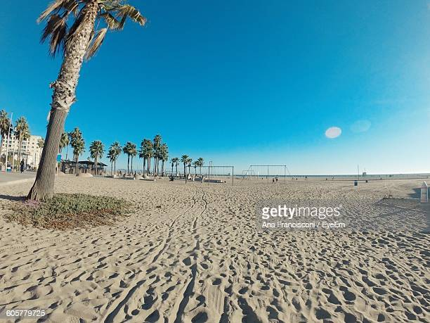 Scenic View Of Santa Monica Beach Against Clear Blue Sky