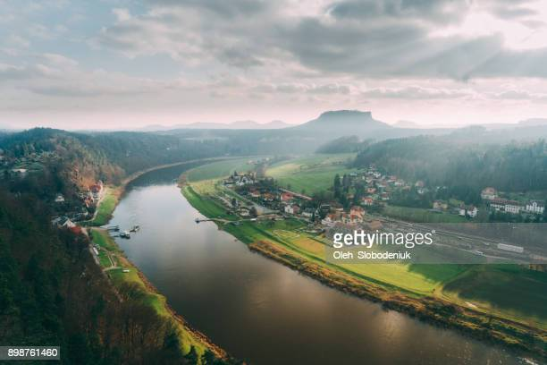 scenic view of saxon switzerland in germany - saxony stock pictures, royalty-free photos & images