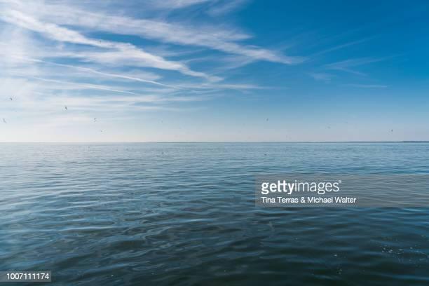 scenic view of sea against blue sky - meerlandschaft stock-fotos und bilder