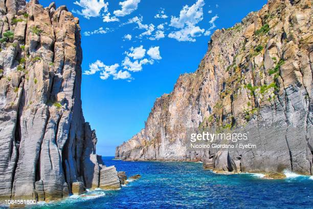 scenic view of sea against blue sky - aeolian islands stock pictures, royalty-free photos & images