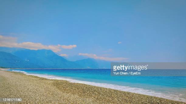 scenic view of sea against blue sky - hualien county stock pictures, royalty-free photos & images